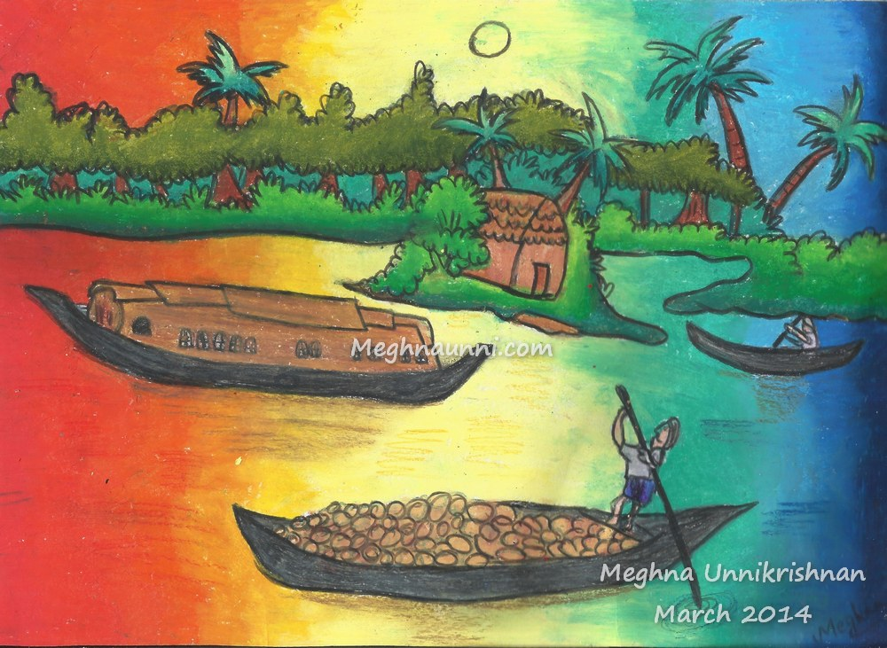 Drawn scenery boat Oil Pastel Paintings