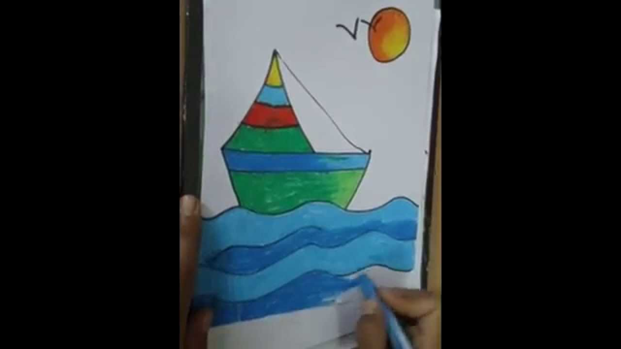 Drawn scenery boat And steps YouTube colorful beautiful