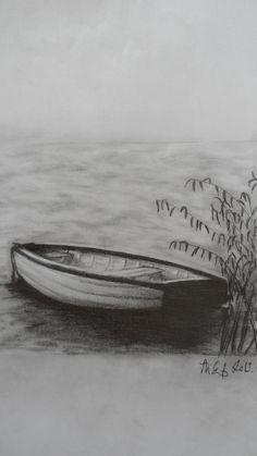 Drawn boat How Bird Lake Balaton Step
