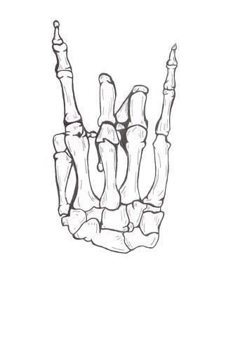Drawn bones Or ideas gesture ILY tattoo