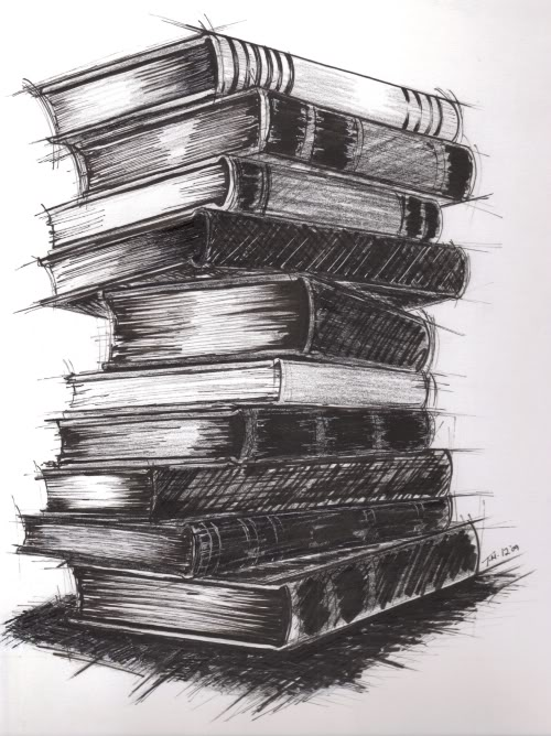 Drawn book pile Stack the  the a