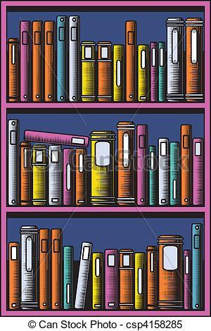 Drawn bookcase book clipart Csp4158285 Clipart Bookcase books Bookcase