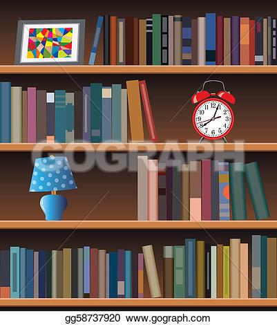Drawn bookcase book clipart Art Vector Vector Modern Clipart