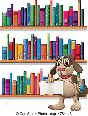 Drawn bookcase book clipart Front dog of holding A