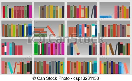 Drawn bookcase book clipart Vector Vectors illustration vector illustration