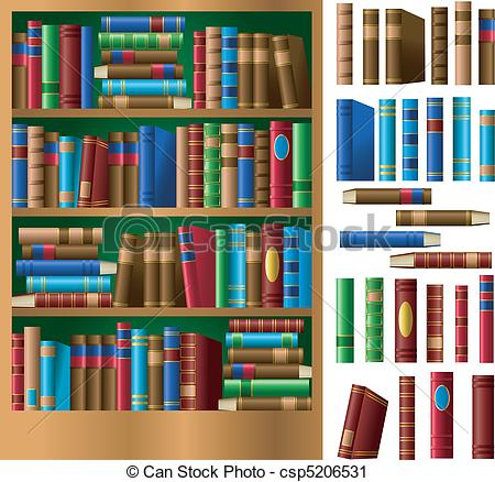 Drawn bookcase book clipart Csp5206531 Vector Bookshelf of of