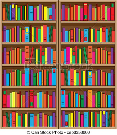 Drawn bookcase book clipart Csp8353860 Clipart Vector A large