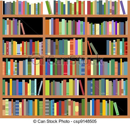 Drawn bookcase book clipart Bookshelf Clipart csp9148505 Isolated bookshelf
