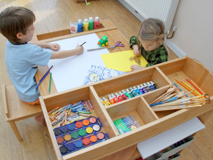 Drawn bookcase childrens Table up craft and and