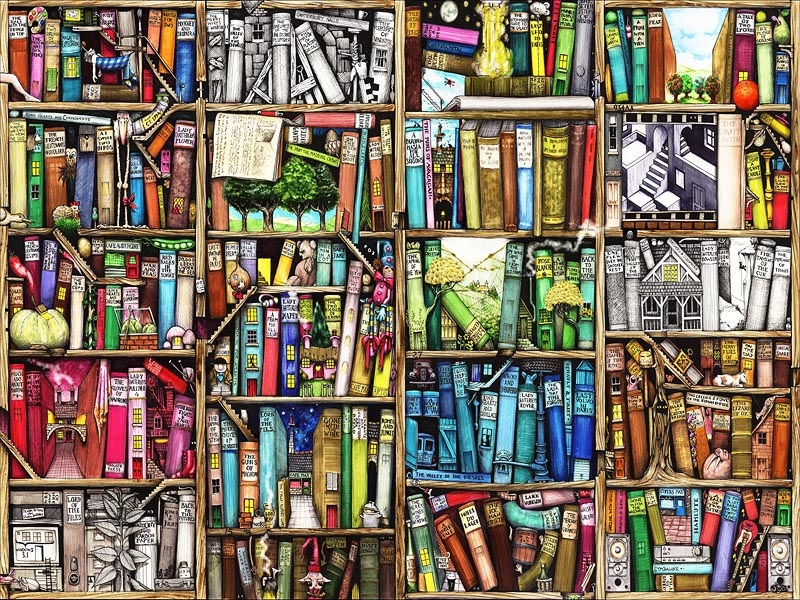 Drawn bookcase magic LIBRARY Wallpaper MAGIC Wallpaper MAGIC