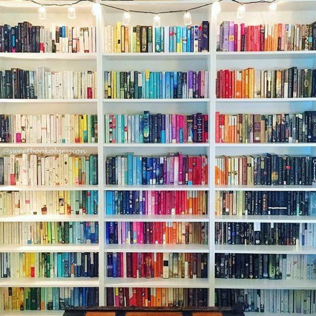 Drawn bookcase organized Bookshelf Pinterest Colorful best Organization