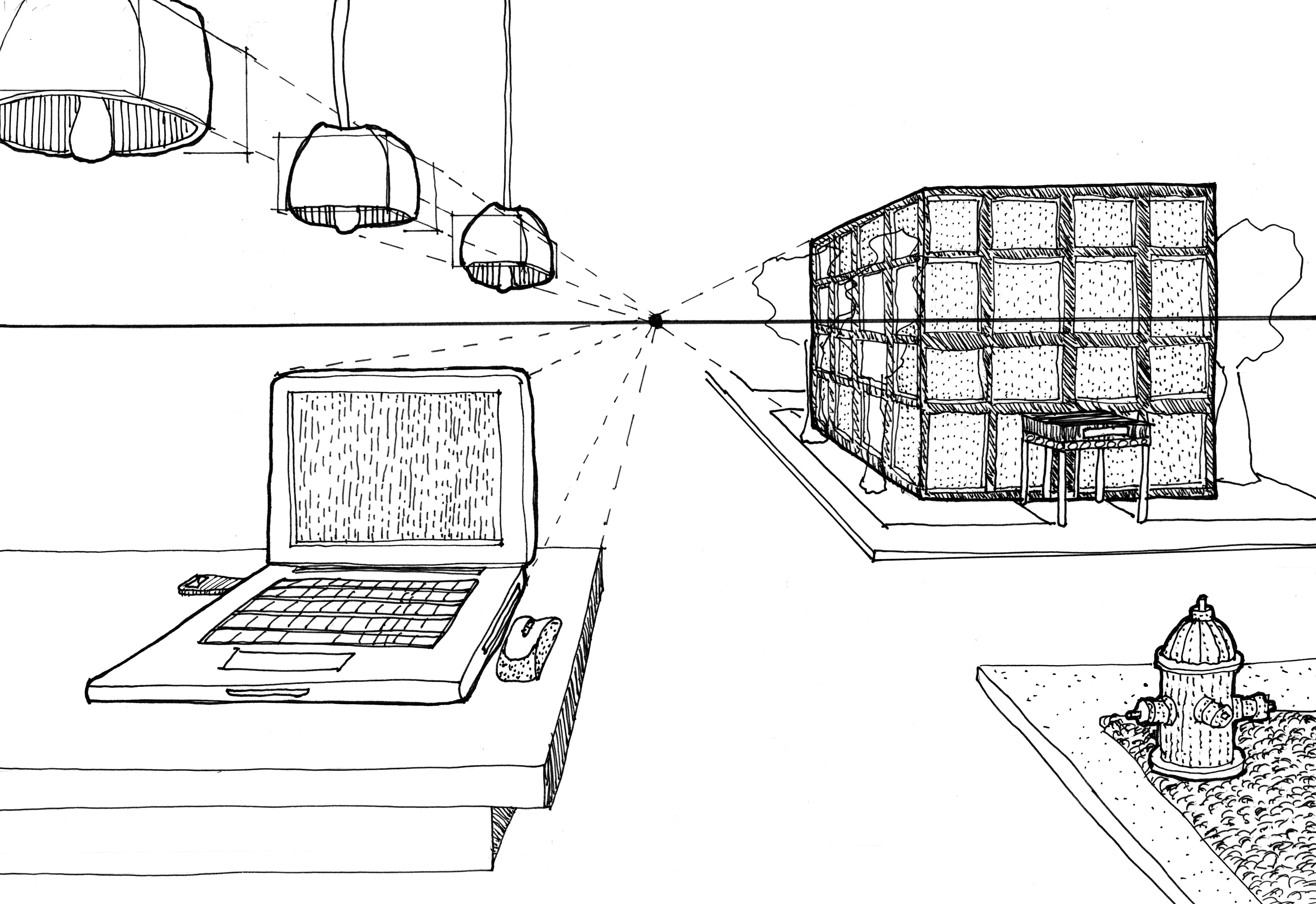 Drawn bookcase perspective 2 Comments Drawing demonstrations drawing