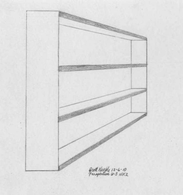 Drawn bookcase perspective Perspective U5 #11580 Post bookcase