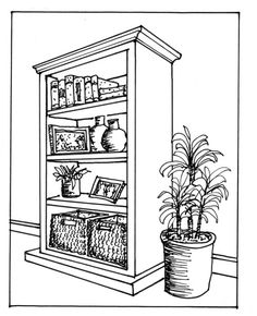 Drawn bookcase perspective Find this on more Perspective