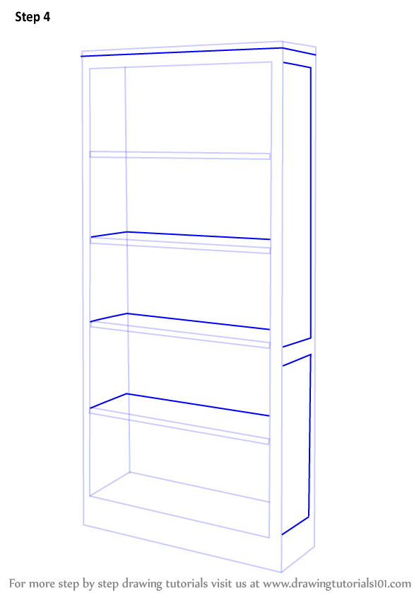 Drawn bookcase simple 3 shown (Furniture) Drawing Learn