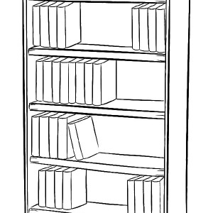 Drawn bookcase sketch How A Image Draw Coloring