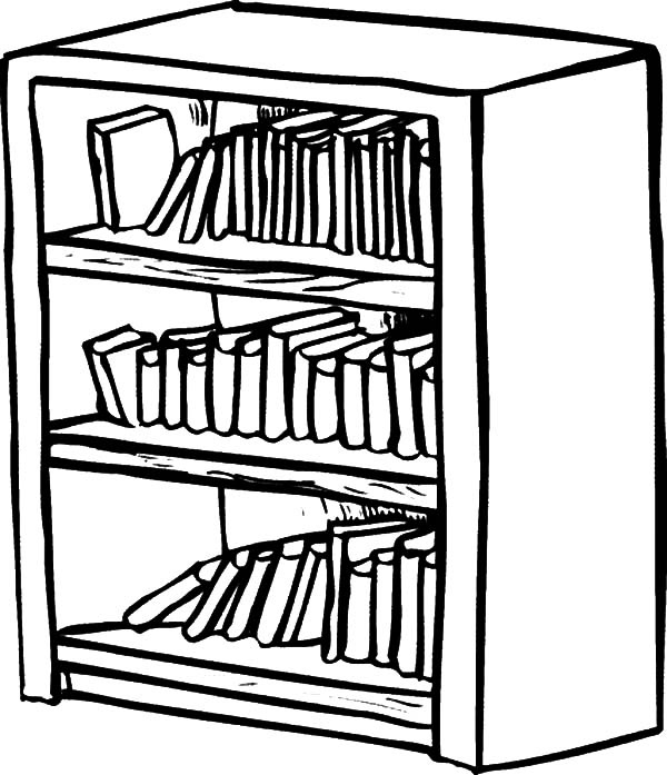 Drawn bookcase sketch Best Color Coloring to Bookshelf