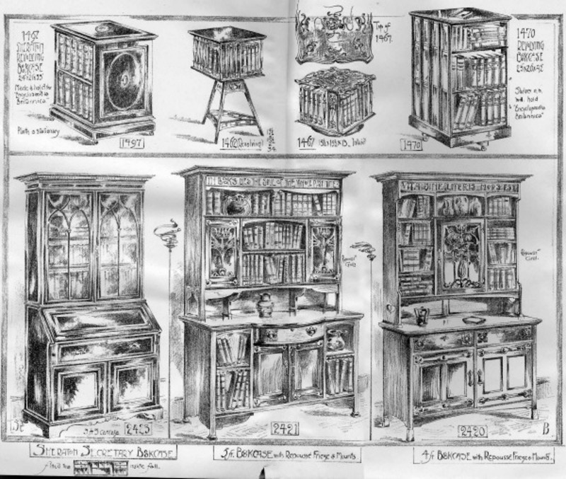 Drawn bookcase sketch Catalogue); from Shapland Petter Bookcase/Cabinets