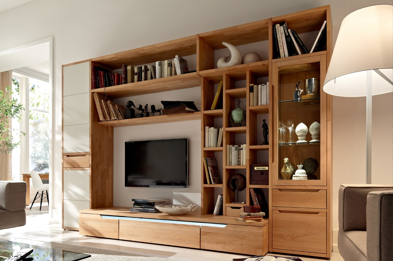 Drawn bookcase virtual Oak for with living Furniture: