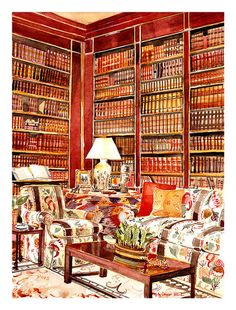 Drawn bookcase virtual Astor's Elegant Corsini style room