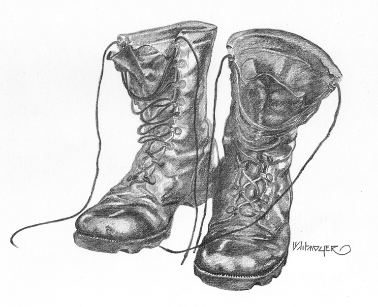 Drawn boots Drawing image Army Combat Combat