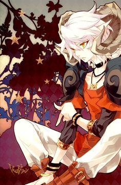 Drawn boots anime guy With Hair boy horns Anime