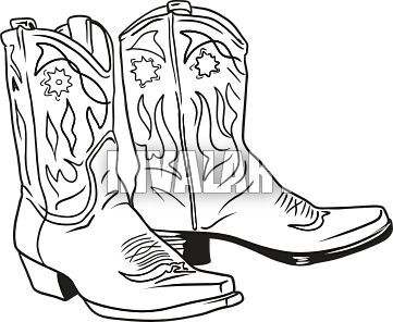Drawn boots cowboy Cowboy Cowboy on Hat and