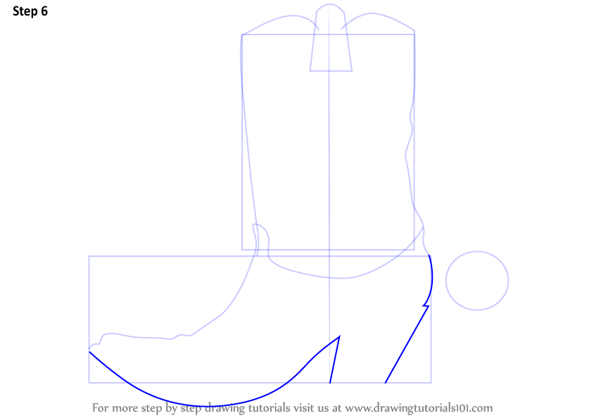Drawn boots cowboyboot Learn outline : Step