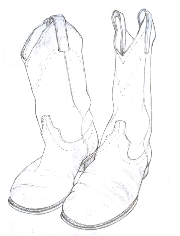 Drawn boots cowboyboot Kelsey Drawing M Kelsey Mosaics