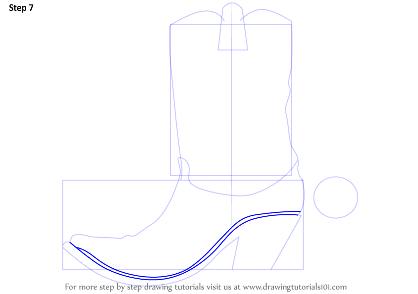 Drawn boots cowboyboot Shown outline Step by Drawing