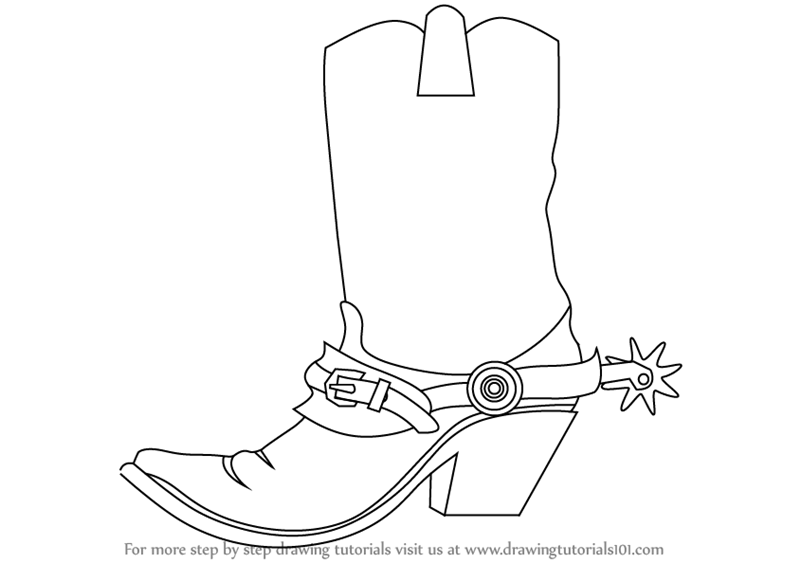Drawn boots cowboyboot How Draw Drawing : Step
