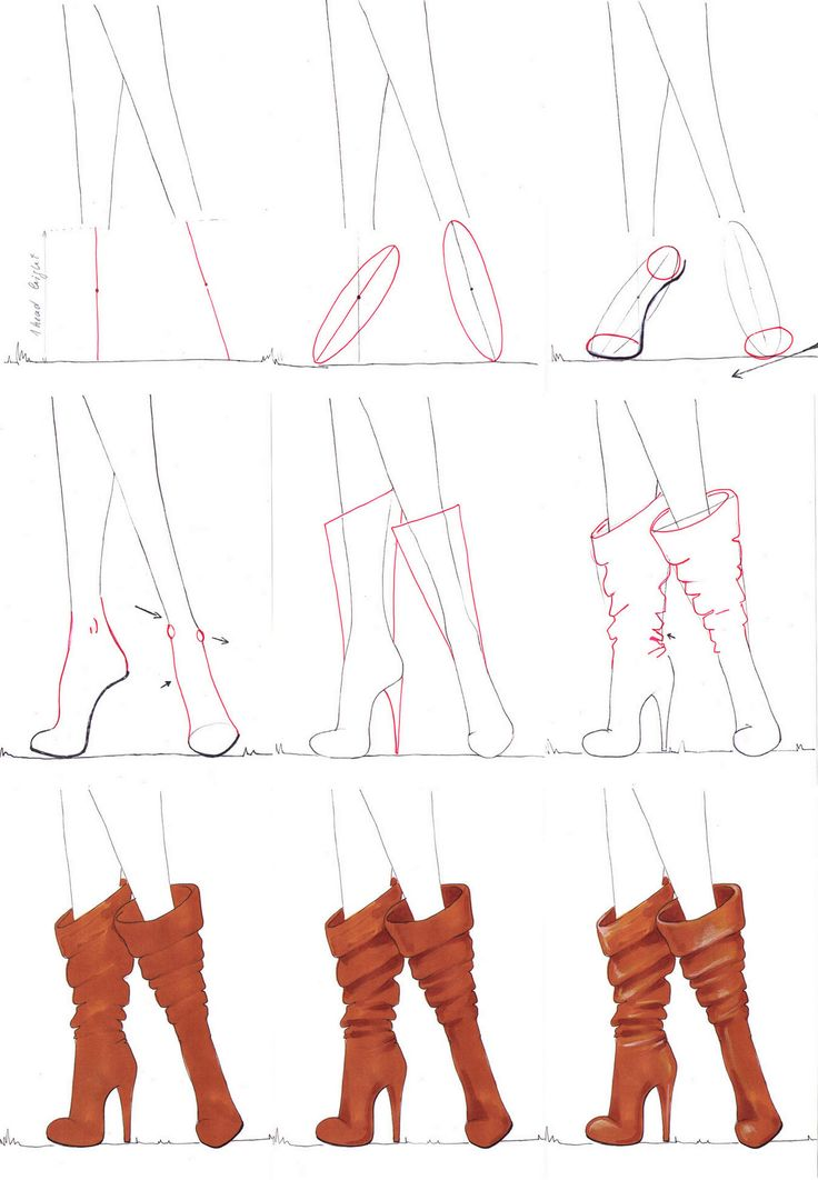 Drawn boots front view Boots by tutorial 20+ step