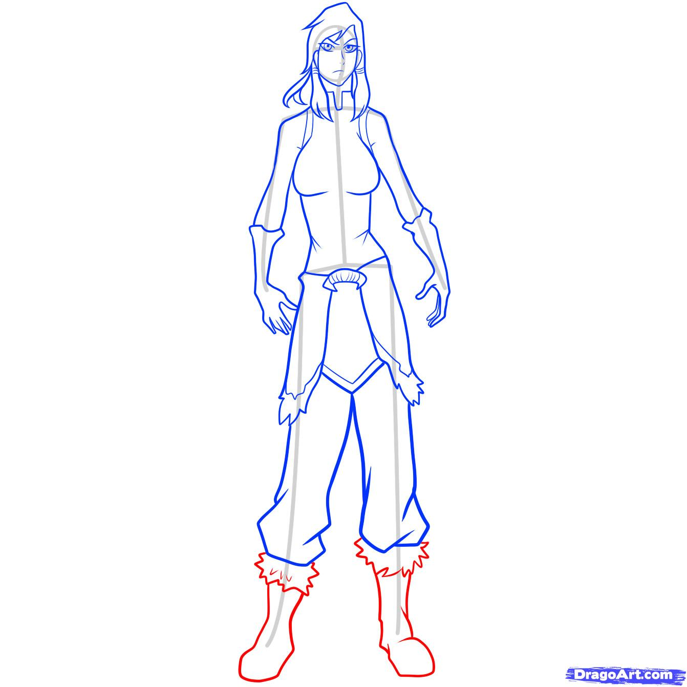 Drawn boots front view 9 draw korra to to