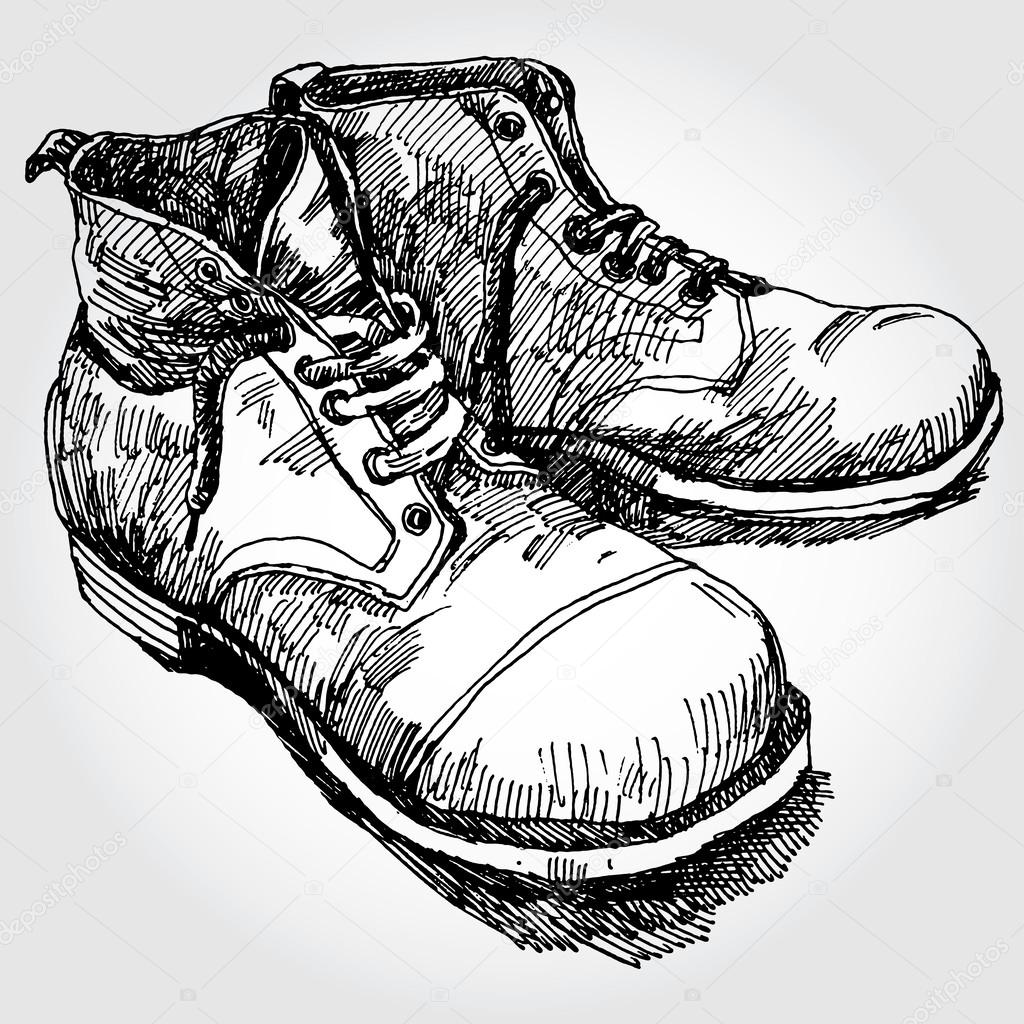 Drawn boots old Vector #30845831 — Boots Drawn