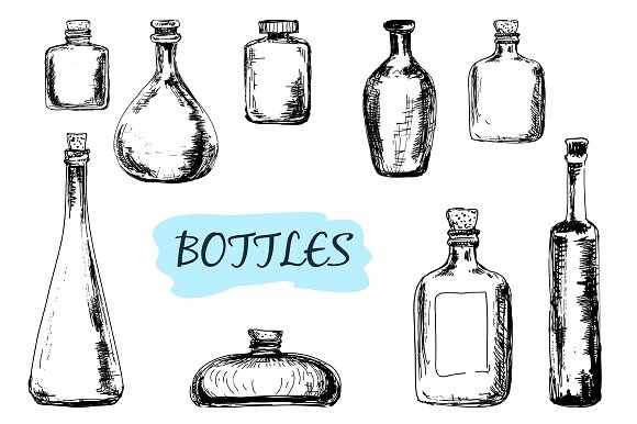 Drawn bottle Of Illustrations Market Set Creative