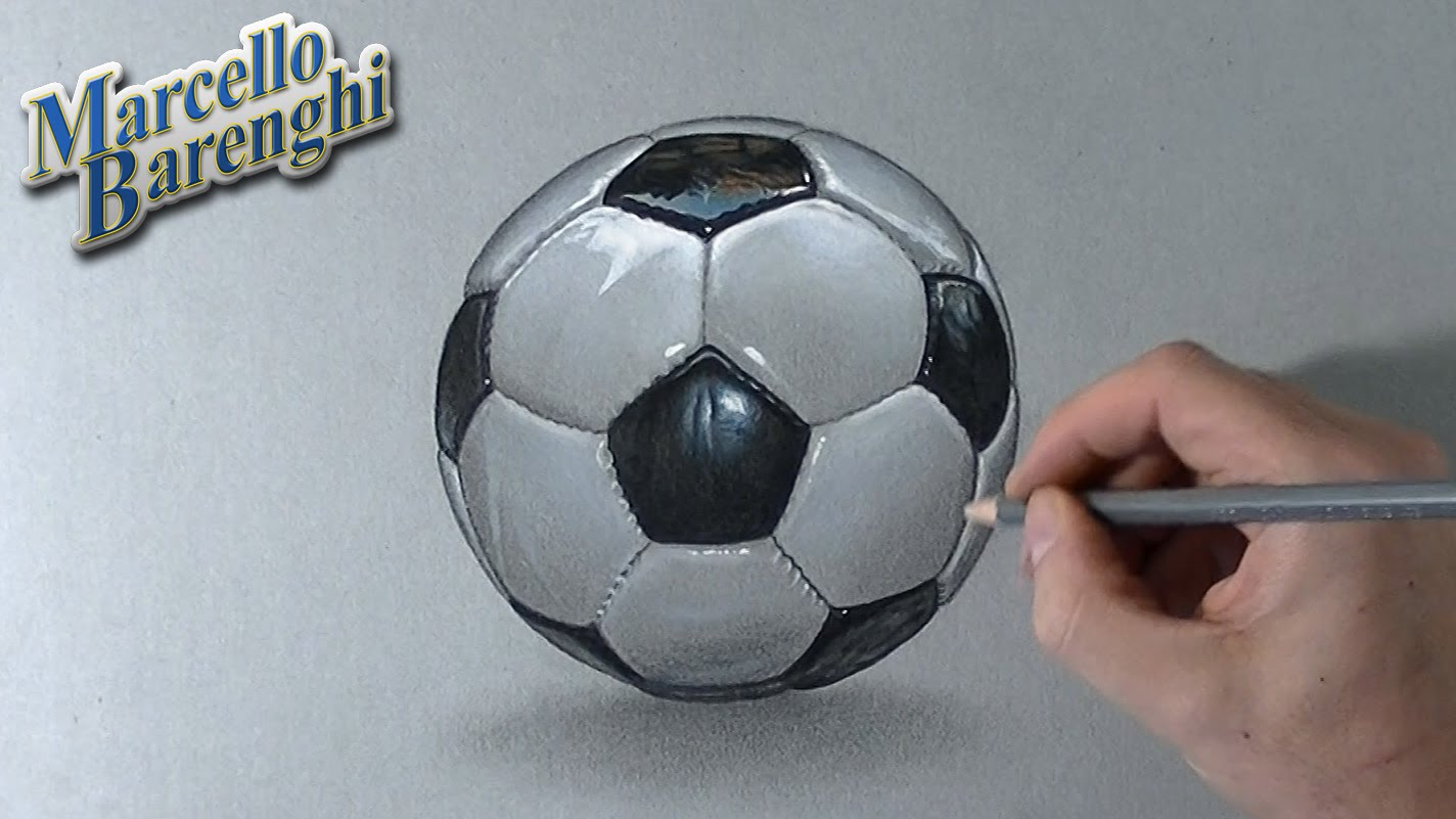 Drawn football white background 3D a ball How draw