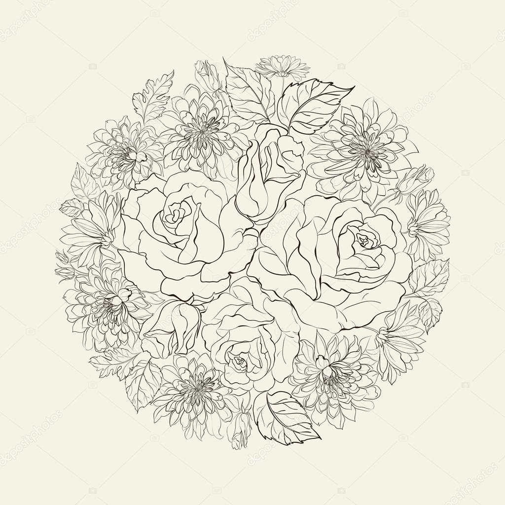 Drawn bouquet Drawn #32694299 of Vector drawn