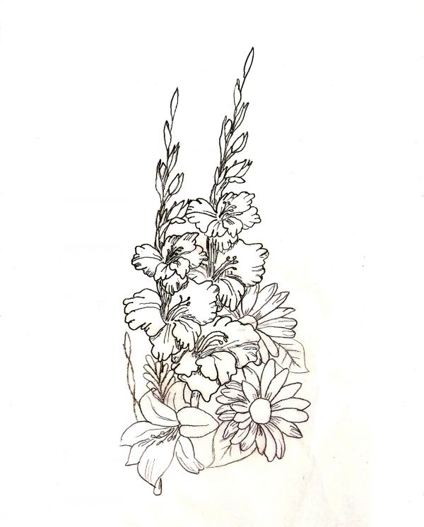 Drawn bouquet In the piece sure a