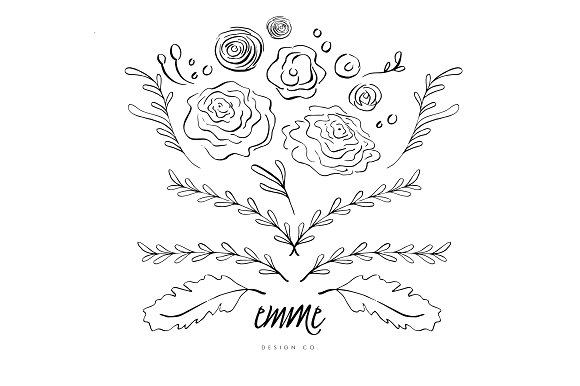 Drawn bouquet hand drawn Market Graphics Blooms Blooms Drawn
