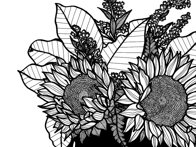Drawn bouquet Sunflower Heidrich bouquet Tanya by
