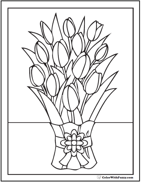 Drawn bouquet tulip bouquet Of PDF Tulip Coloring Tulip