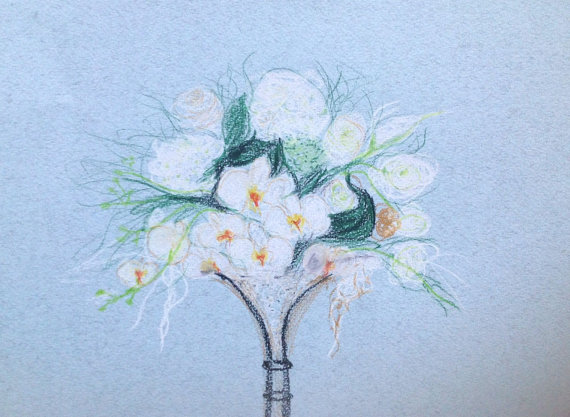 Drawn bouquet wedding bouquet Colored fashion pastel drawing Wedding