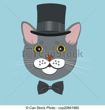 Drawn bow tie cat in hat #6