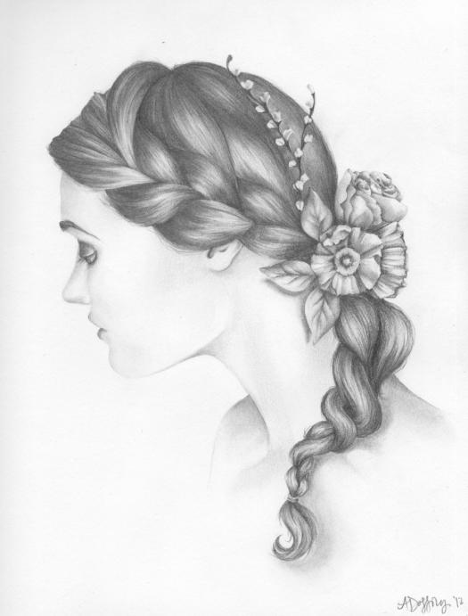 Drawn braid art hair Feminine Braid Calm  Hair