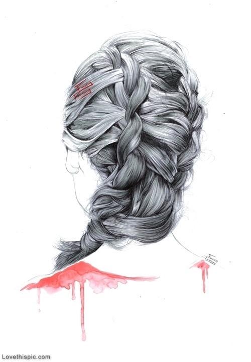 Drawn braid art hair Girl sketch Hair Hair hair