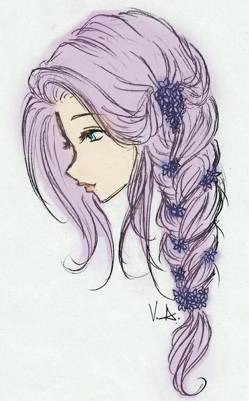 Drawn braid art hair Drawing Search hair girl