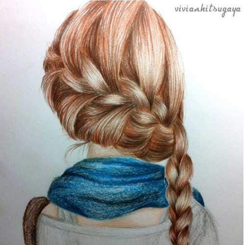 Drawn braid art hair Best Drawing Girl BraidBraid of
