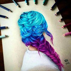 Drawn braid colorful Drawing hair!! hair #rainbow Colors