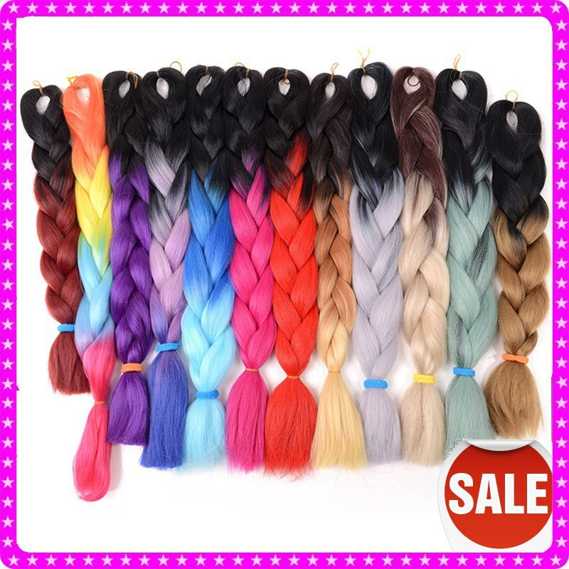 Drawn braid colorful Online two kanekalon color /blonde/red