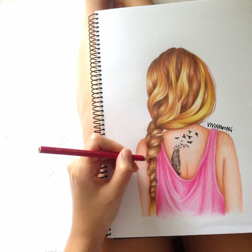 Drawn braid coloring hair Tumblr / best Pinterest pixels